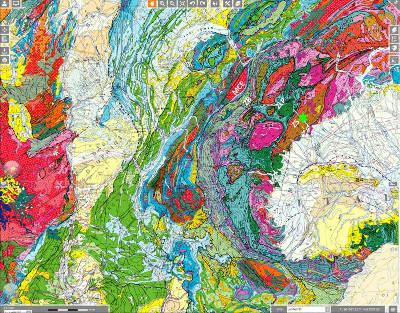 Extrait de la carte géologique de France au 1/1000000 montrant la position du vignoble de Donnas (étoile verte) et les principales zones alpines traversées par la vallée d'Aoste
