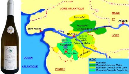 Localisation de la Compointrie (étoile rouge) dans le vignoble du Muscadet, appellation «Muscadet Côtes de Grandlieu»