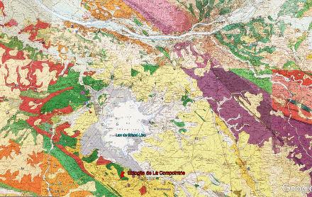 Extrait de la carte géologique au 1/50000 du secteur du lac de Grand-Lieu