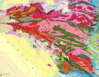 Localisation du gisement de la Compointrie (étoile verte) au Sud du Massif Armoricain, sur la carte géologique de France au 1/1000000