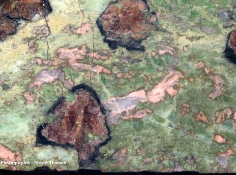 Détail d'un échantillon d'éclogite de La Compointrie très légèrement rétromorphosé