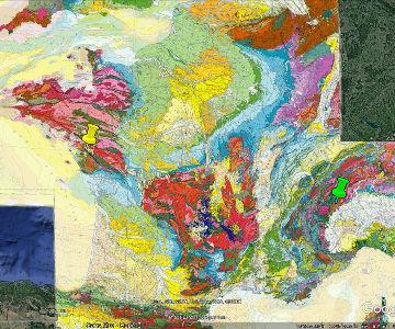 Localisation des affleurements d'éclogite de Donnas (punaise verte) et de La Compointrie (punaise jaune), affleurements d'éclogite sur lesquels poussent des vignobles