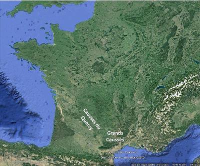 Localisation des Causses du Quercy et des Grands Causses