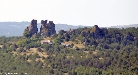 Les pinacles dolomitiques peuvent parfois être de très grande taille, Roques-Altes sur le Causse Noir