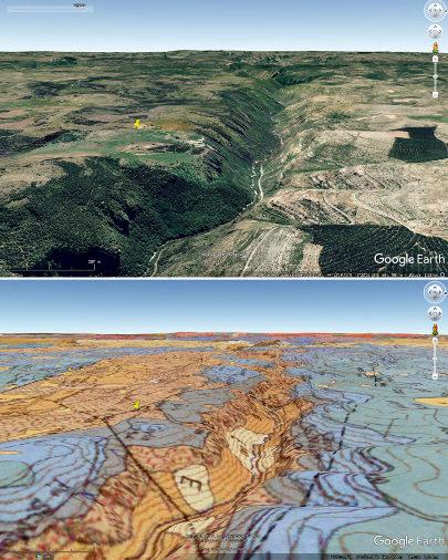 Contexte mophologico-géologique de l'aven de Dargilan (punaise jaune) sur le rebord Nord du Causse Noir