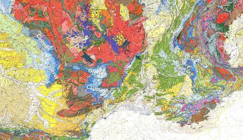 Localisation, sur fond géologique, des Causses du Quercy et des Grands Causses