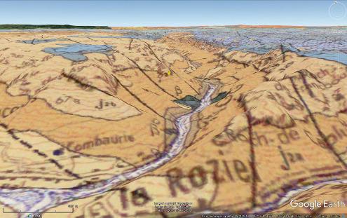 Localisation du hameau d'Eglazines (punaise jaune) sur vue géologique, commune de Mostuéjouls, Aveyron)