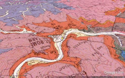 Carte géologique oblique montrant la position et la géométrie de la terrasse de travertin de Saint-Rome-de-Tarn (Aveyron)