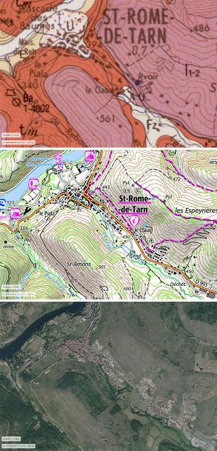 Juxtaposition de la carte géologique, de la carte topographique et de la photo aérienne (les trois en vue verticale) du secteur de Saint-Rome-de-Tarn (Aveyron)
