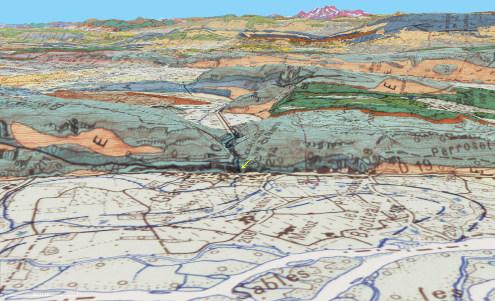 Contexte géologique de la cascade de Glandieu (flèche jaune) qui saute des calcaires du Jurassique supérieur sur les alluvions du Rhône