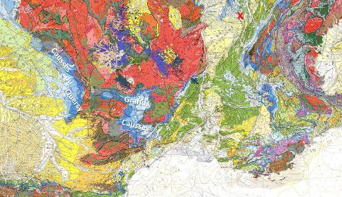 Localisation des contextes géologiques des quatre exemples de sources et constructions de travertin traités cette semaine