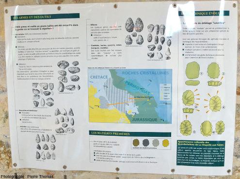 Panneau consacré aux outils trouvés sur place, à leur technique de taille, et à l'origine géologique des roches (locales) utilisées dans la confection de ces outils