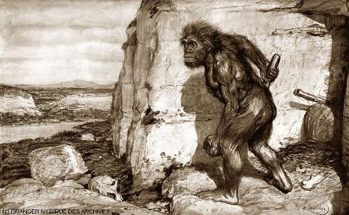 """Dessin paru dans la revue l'Illustration en 1909, dessiné par le peintre tchèque Frantisek Kupka (1871-1957) selon les """"instructions"""" de Marcellin Boule"""