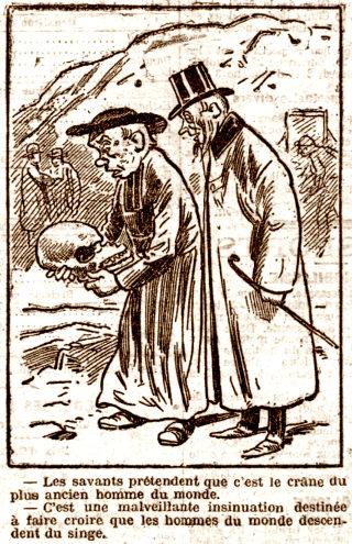 Caricature se moquant à la fois des gens ne croyant ni à l'ancienneté de l'homme de la Chapelle-aux-Saints ni à sa découverte par un prêtre catholique