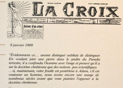 Extrait pris dans La Croix (journal catholique) du 8 janvier 1909