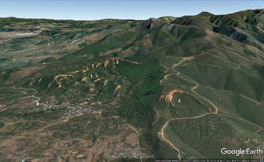 Vue aérienne du site de Las Médulas (Castille et Léon, Nord-Ouest de l'Espagne)