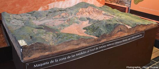 Maquette présenté par l'Aula arqueológica de Las Médulas montrant l'état de la zone à la fin du 2ème siècle