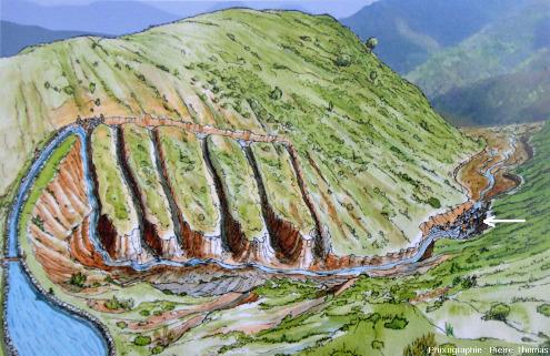 Panneau présenté par l'Aula arqueológica de Las Médulas montrant une des deux méthodes de la technique romaine dite ruina montium