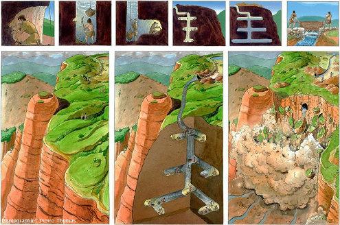Panneau présenté par l'Aula arqueológica de Las Médulas montrant l'autre méthode de la technique romaine dite ruina montium