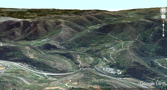 """Vue aérienne du méandre """"asséché"""" de Montefurado (Galice, Nord-Ouest de l'Espagne)"""