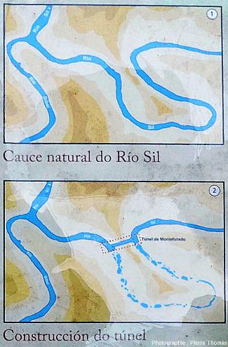 Détail du panneau de la figure précédente montrant en carte le tunnel de Montefurado (Galice), percé par les Romains