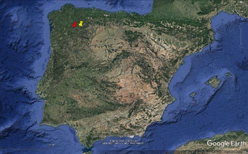 Localisation de Las Médulas (punaise jaune) et du tunnel de Montefurado (punaise rouge) au Nord-Ouest de la péninsule ibérique