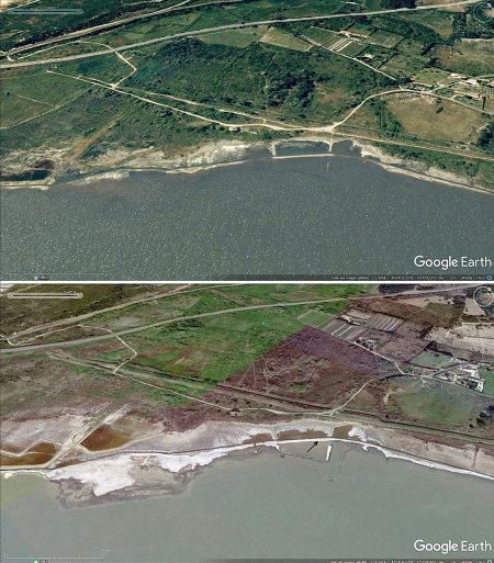 Vues aériennes de l'étang de Lavalduc de décembre 2008 (en haut) et mars 2018 (en bas) et montrant la variation du niveau de l'eau et de la largeur des plages