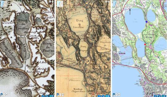Juxtaposition des cartes de Cassini (XVIIIème siècle, à gauche), d'état-major (XIXème siècle, au centre) et IGN (XXIème siècle, à droite) de la région de l'étang de Lavalduc (Bouches du Rhône)