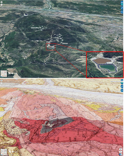 Vue aérienne et carte géologique correspondante montrant le secteur des stockages Géosel et Géométhane, près de Manosque