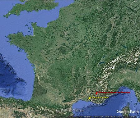 Localisation de l'étang de Lavalduc (jaune) et du site de stockage souterrain de Manosque (rouge)