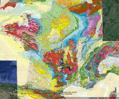 Localisation de la grotte du Grand Roc sur une carte géologique de la France au 1/1000000