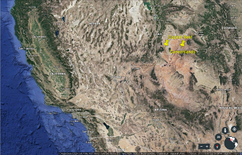 Localisation des parcs nationaux de Capitol Reef et Canyonlands au centre Ouest des États-Unis d'Amérique
