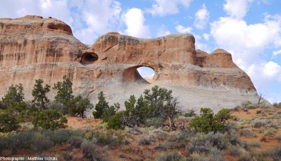 Arches à différents niveaux stratigraphiques dans les grès Entrada, Parc national des Arches (Utah)
