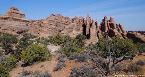 Observation des travées de grès Entrada du Devil's Garden, au Nord-Est de la Salt Valley, Parc national des Arches (Utah)