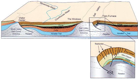 Les anticlinaux effondrés à cœur d'évaporites (formation Paradox)) de la vallée de Moab et de la Salt Valley (coupe Ouest-Est)