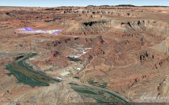 La mine de sylvite Intrepid Potash, près de Moab, qui exploite par dissolution-évaporation les évaporites de la formation Paradox