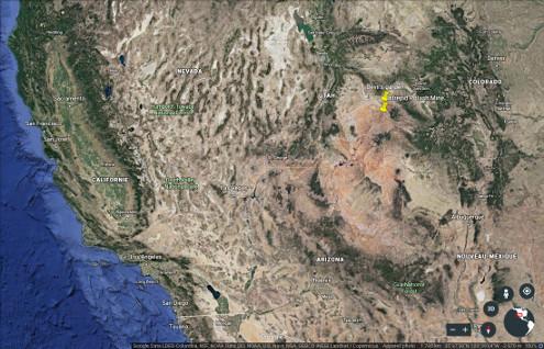 Localisation dans le Parc national des Arches (Utah) du secteur du Devil's Garden et de l'Intrepid Potash Mine, au centre Ouest des États-Unis d'Amérique