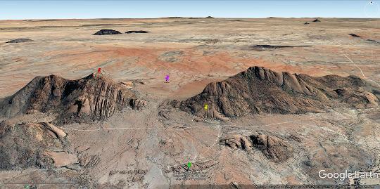Position relative des différents secteurs photographiés dans les images précédentes, massif du Spitzkoppe (Namibie)