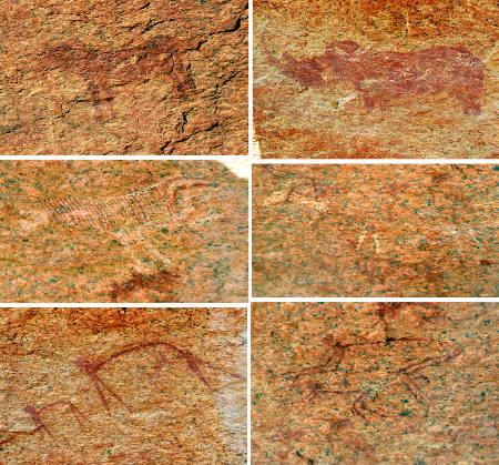 Sélection de six peintures du Small Bushman Paradise (Namibie)