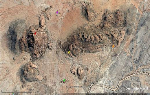 Localisation des différents sites observés dans le massif du Spitzkoppe (Namibie)