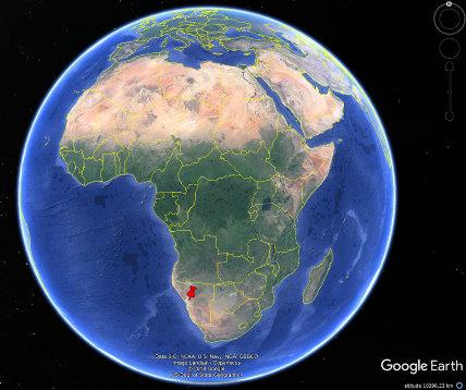 Localisation du Spitzkoppe en Namibie, près de la marge africaine atlantique qui s'est formée au Crétacé inférieur