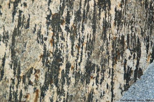 Zoom sur des cristallisations de tourmaline formant des trainées verticales noires, témoins probables d'une cristallisation syn-ou tardi-cinématique de ces tourmalines, San Piero in Campo (ile d'Elbe, Italie)