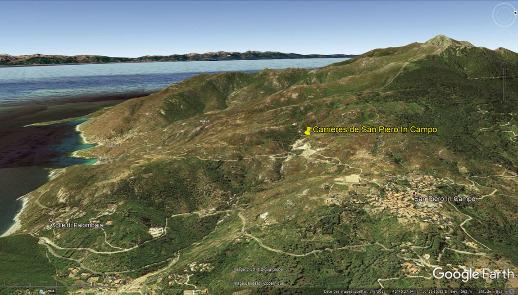 Localisation des carrières de San Piero in Campo près du village du même nom, au pied du Monte Capanne (1019m, sommet de l'ile d'Elbe), sommet qui a donné son nom à cette granodiorite du Miocène supérieur