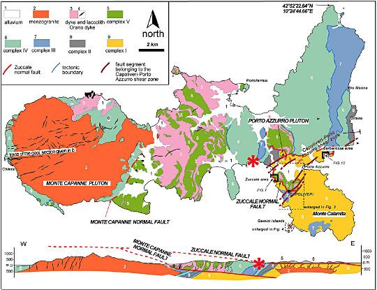 Carte et coupe géologiques de l'ile d'Elbe (Italie)