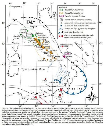 Répartition du magmatisme mio-plio-quaternaire d'Italie