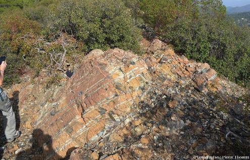 Affleurement lité de manteau, avec des alternances de harzburgite et de pyroxénite, Amiantos, Chypre