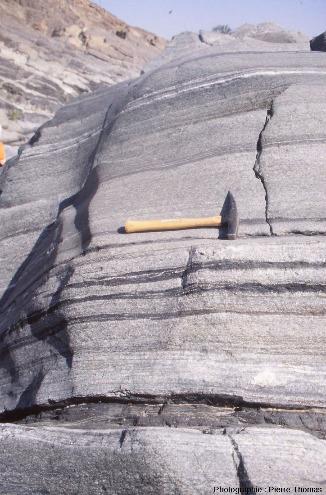 Zoom sur les gabbros lités de la figure 1, wadi Haylayn, ophiolite d'Oman