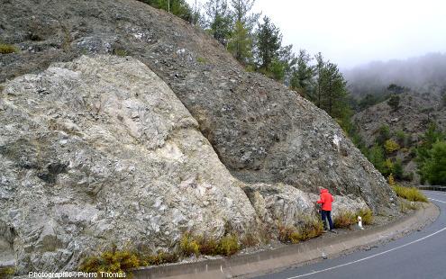 Contact entre un plagiogranite (clair) et un gabbro isotrope (sombre), Palaiomylos, ophiolite de Chypre
