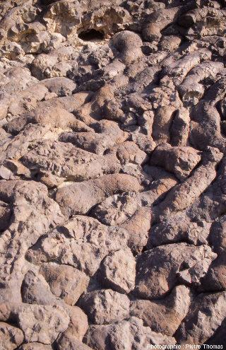 """Détail sur le pillow """"vidé"""" de la figure précédente et sur la structure interne des pilows, affleurement """"Geotimes"""" (Oman)"""