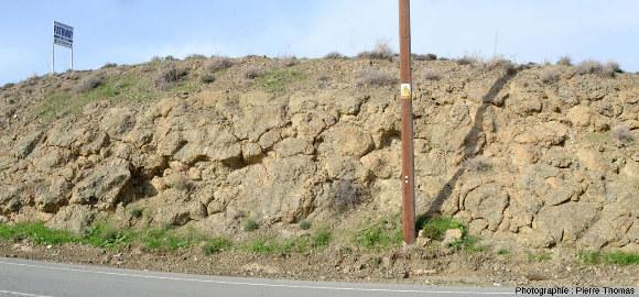 """Affleurement à pillow lavas vus en """"coupe transversale"""", Kato Moni, ophiolite de Chypre"""